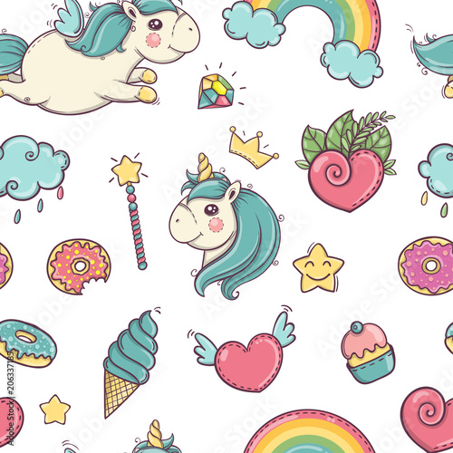 Materiał do szycia Unicorn and rainbow seamless pattern isolated on white background