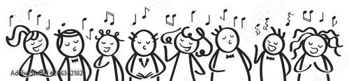 Fototapeta Chor, Gesangsgruppe, Männer und Frauen singen gemeinsam, Banner, lustige Strichfiguren singen ein Lied