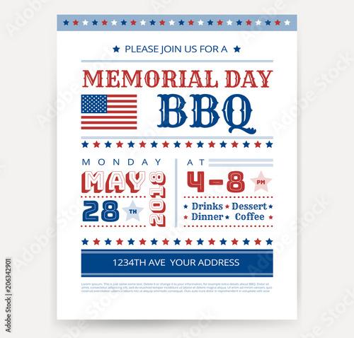 memorial day barbeque bbq flyer leaflet letter invitation design