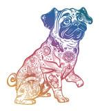 Vintage bulldog or pug decorated in flash tattoos.