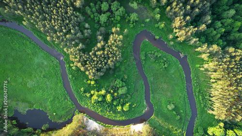 Foto Murales Aerial view of natural river in spring