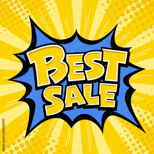 Vector Best sale banner yellow message blue star and yellow template design background. vector illustration