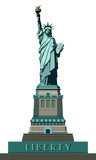 Statue of Liberty. Illustration on a white background.USA. Monument sculpture in New York. The national symbol of America. Use the presentation of corporate reporting, marketing, line, logo vector © VASYL
