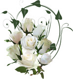 isolated white bunch from eight roses