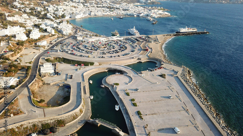 Fotobehang Nice Aerial drone bird's eye view photo of public new small port built for yachts in chora of Mykonos island, Cyclades, Greece
