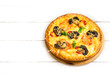 Mushroom pizza on white wooden table with copy space, top view. Ready to eat - 206355554