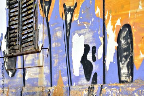 Fotobehang Graffiti Graffiti wall grunge window