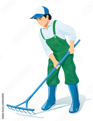 Garden worker with rake. Gardening occupation. Agriculture