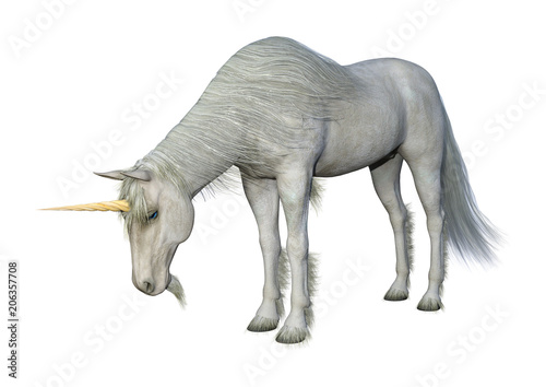 3D Rendering Fairy Tale White Unicorn on White