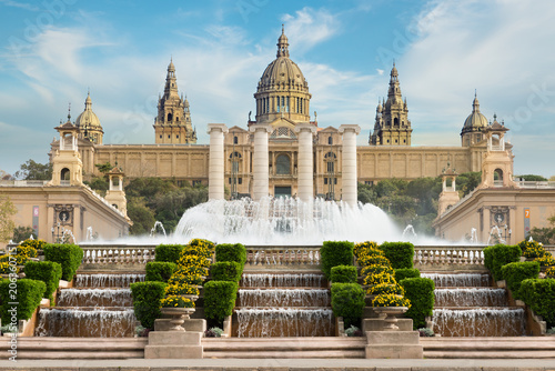 Fotobehang Barcelona Barcelona Placa De Espanya, the National Museum with magic fountain in afternoon at Barcelona. Spain. Famous landmark in Spain.