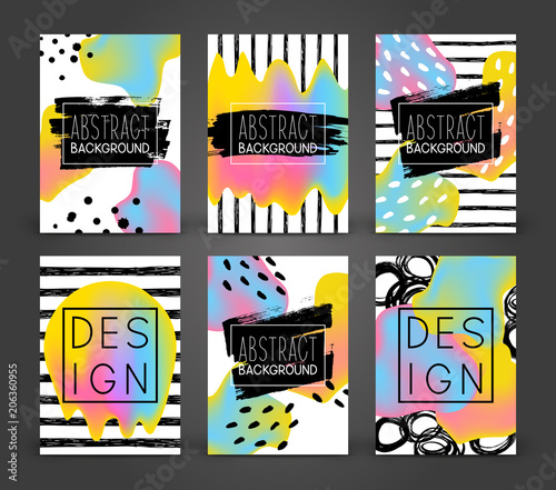 Sticker Set of abstract poster designs with color liquid elements