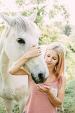 Animal care, Horse rider and white horse - 206361507