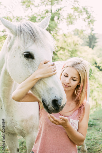 Foto Murales Animal care, Horse rider and white horse