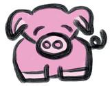 Cute Simple Drawn Illustration Animal Pig