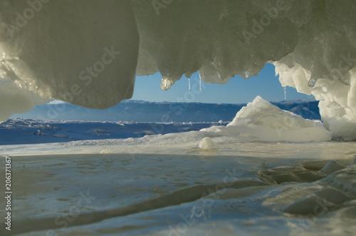 Foto Murales Russia. Eastern Siberia. Amazing fanciful ice flows of lake Baikal.