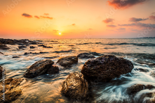 Fotobehang Strand Wave sound , golden hours ,sea waves