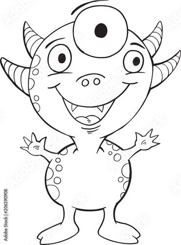 Canvas Cartoon draw Cute Monster Vector Illustration Art