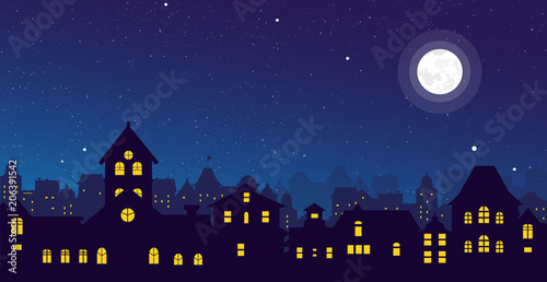 Vector illustration of the night town skyline with a full moon over urban houses rooftops in flat style.