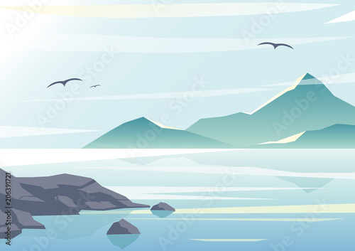 Aluminium Lichtblauw Vector illustration of beautiful sea view, water of the ocean, rocks on the beach, mountains and sky background in pastel colors and flat design.