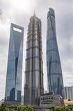 Das Finanzzentrum Pudong von Shanghai: drei ikonische Wolkenkratzer in einer Reihe, China - 206391995
