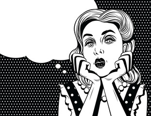 Vector comic pop art  style illustration of a beautiful young woman is bored. Retro style girl put head on her hands