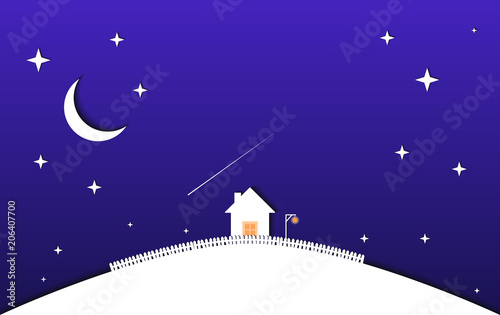 Fotobehang Violet House and night sky with stars and moon. vector illustration
