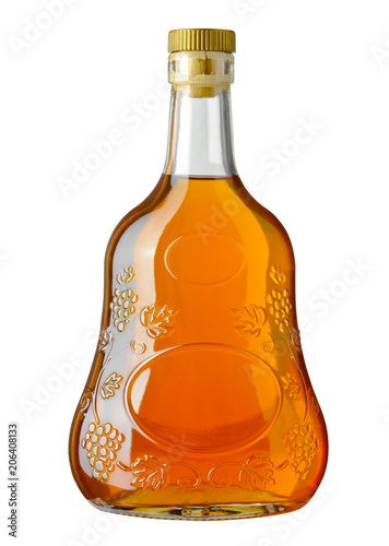 Full bottle of cognac on white background. Clipping path
