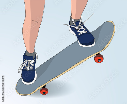 Plexiglas Skateboard skateboard jump illustration - drawing style skateboarding concept -