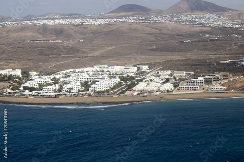 Fotobehang Canarische Eilanden View on Puerto del Carmen resort on the southeast coast of Lanzarote