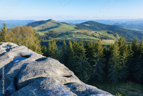 Canvas Natuur mountain landscape in spring summer village in the mountains house
