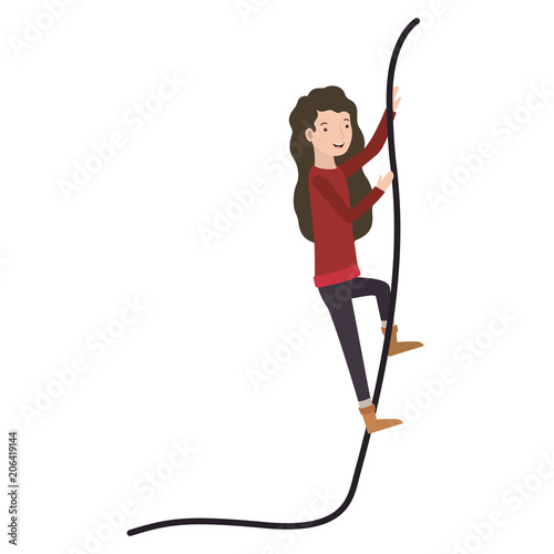 woman climbing in rope character vector illustration design