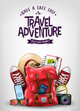Top View Travel Banner Template with Space for Text Including Realistic 3D Items for Travelling Like Backpack, Sneakers, Mobile Phone, Passport and Sunglasses in Light Blue Background. 