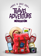 Top View Travel Banner Template with Space for Text Including Realistic 3D Items for Travelling Like Backpack, Sneakers, Mobile Phone, Passport and Sunglasses in Light Blue Background.   © HaveZein