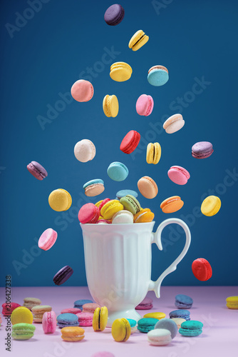Plexiglas Macarons Colorful macarons or macaroons dessert sweet beautiful to eat