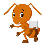 Cartoon ants holding sugar slice