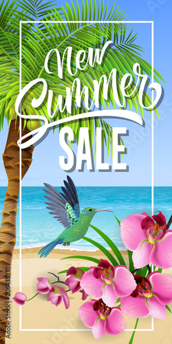 New summer sale lettering in frame with sea beach and hummingbird. Summer offer or sale advertising design. Handwritten and typed text, calligraphy. For brochure, invitation, poster or banner.