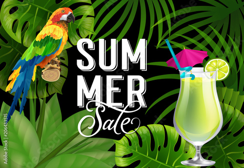 Summer sale lettering with parrot and cocktail. Summer offer or sale advertising design. Handwritten and typed text, calligraphy. For leaflet, brochure, invitation, poster or banner.