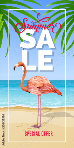 Summer sale special offer lettering in frame with sea beach and flamingo. Summer offer or sale advertising design. Handwritten and typed text, calligraphy. For leaflet, invitation, poster or banner.