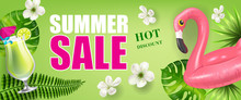 Summer Sale Hot Discount Banner Design  Palm Leaves And Flowers Cold Drink And Toy Flamingo On Green  Typed Text Can Be Used For Flyers Labels Posters Sticker