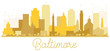 Baltimore City skyline Golden silhouette.