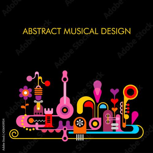Fotobehang Abstractie Art Abstract Musical Design