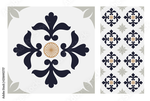 vintage tiles patterns antique seamless design in Vector illustration	 - 206443717
