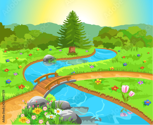 Wall mural natural landscape with a river in the middle and a bridge