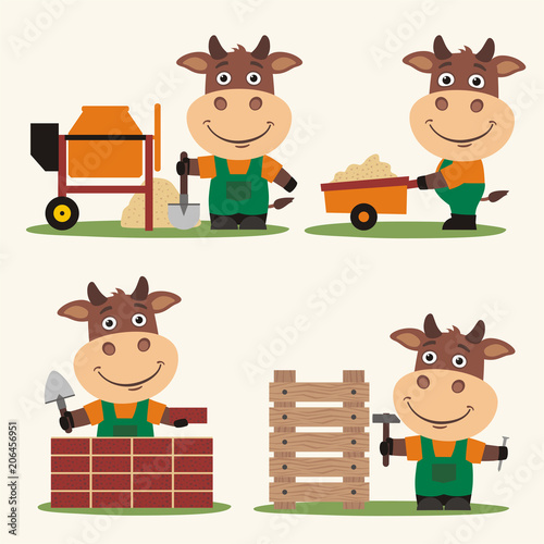 Set of isolated funny bull builder in cartoon style: concrete mixer, wheelbarrow, at brick wall and with hammer near wooden structure.