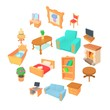 Different furniture icons set. Cartoon illustration of 16 different furniture vector icons for web