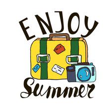 Hand Written Phrase Enjoy Summersuitcase And Camera  Illustration Summertime Poster Sticker