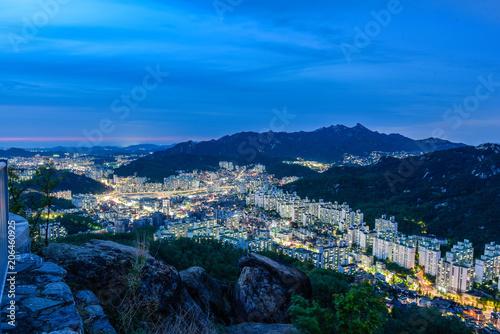 downtown of seoul city skyline night view in seoul, south korea