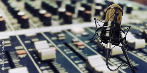 Fototapeta microphone in studio at background 3d illustration