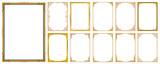 Set of Decorative vintage frames and borders set,Gold photo frame with corner Thailand line floral for picture, Vector design decoration pattern style. border design is pattern Thai art style - 206465592