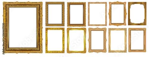 Set of Decorative vintage frames and borders set,Gold photo frame with corner Thailand line floral for picture, Vector design decoration pattern style. border design is pattern Thai art style - 206465508
